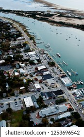 Aerial view of front st, taylor creek and carrot island in the coastal town of beaufort nc