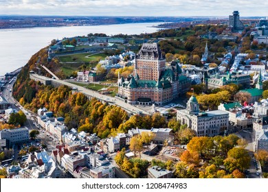 Aerial view of Frontenac Castle in Old Quebec City in the Fall season, Quebec, Canada.