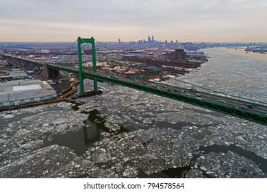 Aerial View Frozen Delaware River Philadelphia