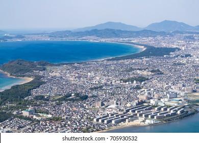 Aerial View of Fukuoka City in Fukuoka, Japan.