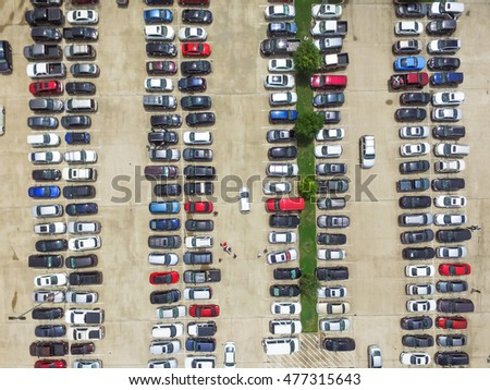 Car Lots In Houston >> Aerial View Full Cars Large Outdoor Stock Photo Edit Now 477315643