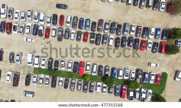 Car Lots In Houston >> Aerial View Full Cars Large Outdoor Transportation