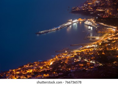 Aerial view of Funchal in the night,Madeira Island,Portugal