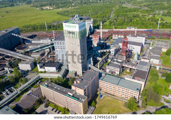 aerial view of Functional coal mine shaft named OKD Darkov COVID19 - KARVINA, CZECH REPUBLIC, MAY 28, 2020