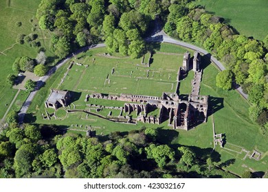 aerial view of Furness Abbey in Barrow in Furness, Cumbria