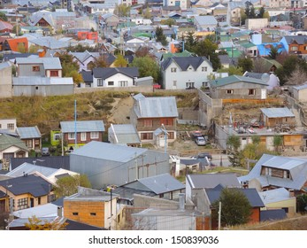 Aerial view of gabled roofs in Ushuaia town, Argentina