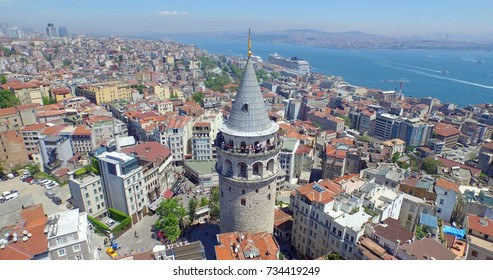 aerial view of galata tower in istanbul, turkey.