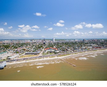 Aerial view of Galveston Beach and Hotels