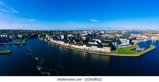Aerial view of Galway cityscape Ireland