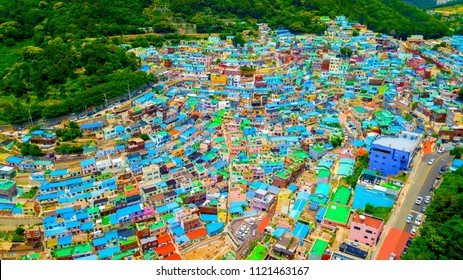 Aerial view of Gamcheon Culture Village located in Busan city of South Korea.