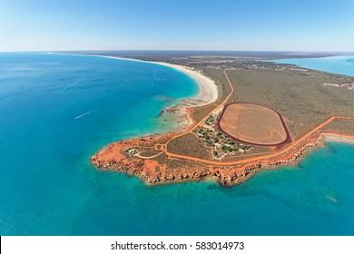 Aerial view of Gantheaume Point and Cable Beach near Broome, Western Australia, Australia