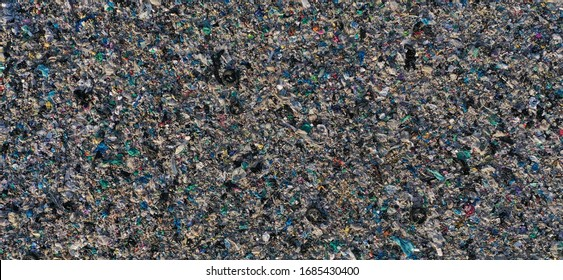 Aerial view of garbage pile in trash, global warming, ecosystem and healthy environment concepts and background.