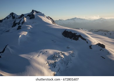 Aerial view of Garibaldi Mountain, near Squamish, North of Vancouver, British Columbia, Canada. Taken during a sunny summer day.