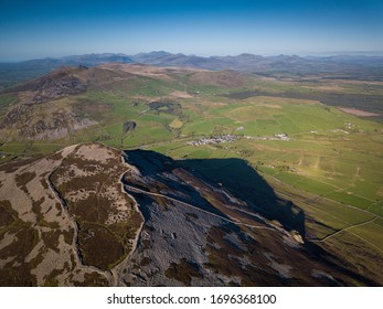 Aerial view of Garn Ganol in Yr Eifl Mountains with Iron Age Hillfort, Llyn Peninsula, Wales, UK