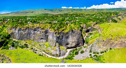 Aerial view of the Garni Gorge with unique basalt column formations. Armenia
