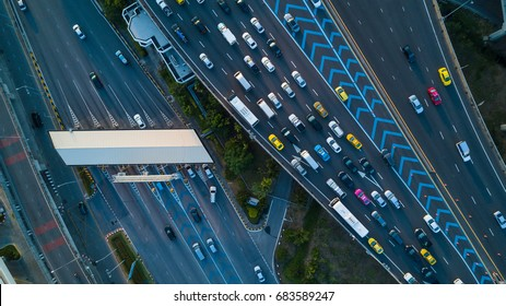 Aerial view Gate for expressway fee payment.