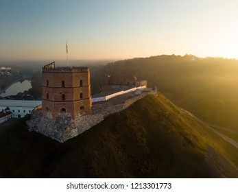 Aerial view of Gediminas' Tower, the remaining part of the Upper Castle in Vilnius. Sunrise landscape of UNESCO-inscribed Old Town of Vilnius, the heartland of the city, Lithuania.