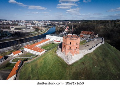 Aerial view of Gediminas tower in Vilnius city center. Lithuania
