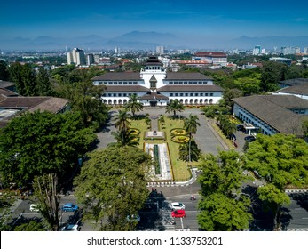 Aerial View of Gedung Sate an Old Historical European Dutch Colonial Governor Building in Bandung, Icon of West Java, Indonesia, Asia