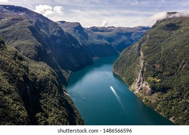 Aerial view of Geiranger fjord in Norway at a clear sunny day