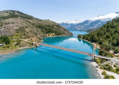 Aerial view of General Carrera bridge, Bertrand Lake and General Carrera Lake - Chile Chico, Aysén, Chile