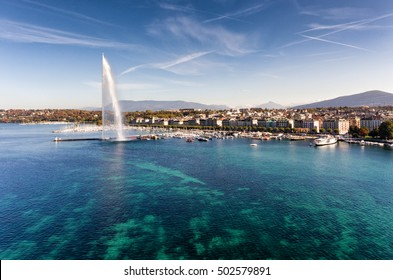 Aerial view of Geneva and the Jet d'Eau fountain, Switzerland