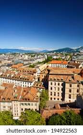 Aerial view of Geneva Old Town from St. Pierre Cathedral with Mt. Saleve on background