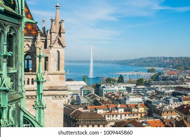 Aerial view of Geneve from Saint Pierre Cathedral, Swiss