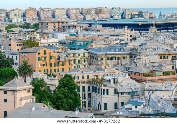 Aerial view of Genoa from the top the hill.