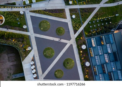 Aerial View of Geometrical Patterns of a Green Rooftop in Buenos Aires, Argentina