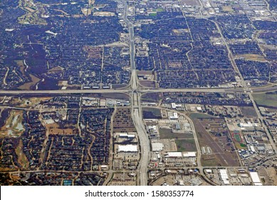 Aerial view of George Bush Turnpike and Dallas Parkway in Dallas, Texas, USA