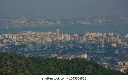 Aerial view of George Town, Malaysia. View from top of Penang Hill.