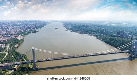 Aerial view of George Washington Bridge in New York City.