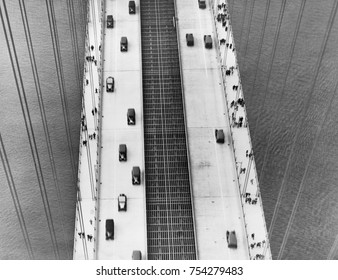Aerial view of George Washington Bridge, New York City, in the 1930s. It open on October 24, 1931 and was the world's longest bridge until superseded by the Gold Gate Bridge in 1937.