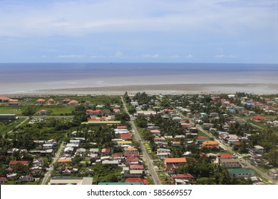 Aerial view to Georgetown city the capital of Guyana and Atlantic ocean