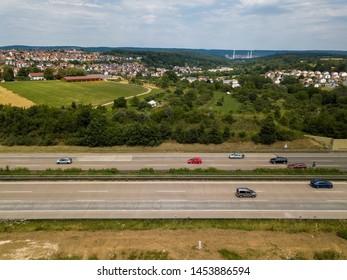 Aerial view of a German Autobahn at Denkendorf near Stuttgart - drone photo taken on a weekend, hence not much truck traffic