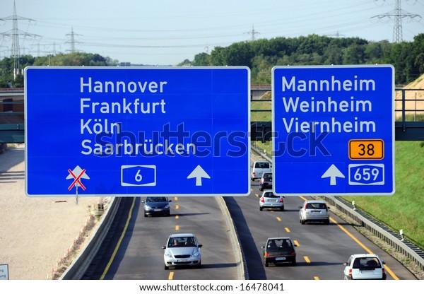Aerial view of a German highway