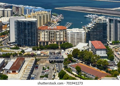 Aerial view of Gibraltar, its marina and the Mediterranean sea as seen from the Rock of Gibraltar