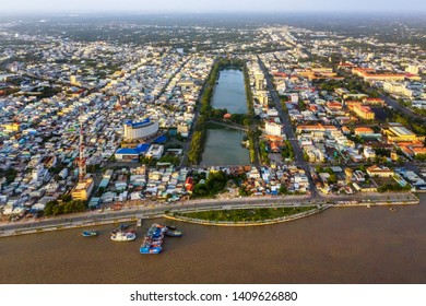 Aerial view of Gieng Nuoc Lon lake in park of  My Tho town center. Tien Giang, Vietnam. Mekong Delta. Near Ben Tre