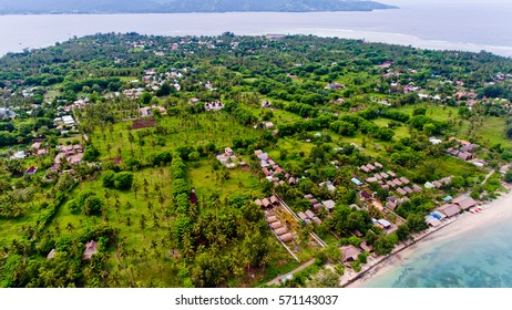 Aerial view of the Gili Air island, Bali, Indonesia.