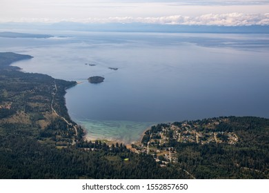 Aerial View of Gillies Bay on Texada Island, British Columbia, Canada. Taken during a hazy summer morning.