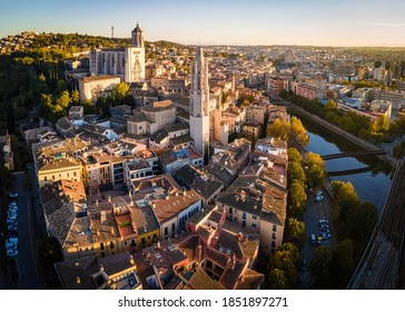 Aerial view of Girona, a city in Spain's northeastern Catalonia region, beside the River Onyar