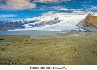 Luftsicht auf Gletscher von oben,Vatnajokull Glacier, Vatnajokull Nationalpark.Island