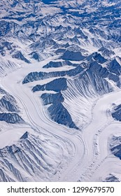 Aerial view of Glacier confluence in Great Himalayan region in India