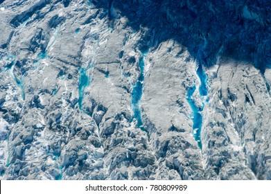 Aerial view of glaciers in Denali National Park, Alaska