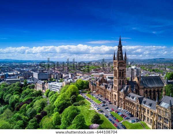 Aerial view of Glasgow, Scotland, UK.