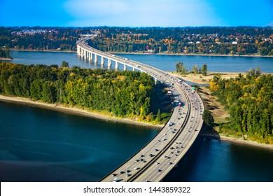 Aerial view of the Glenn L. Jackson Memorial Bridge, or I-205 bridge.  It is a segmental bridge that spans the Columbia River between Vancouver, Washington and Portland, Oregon.