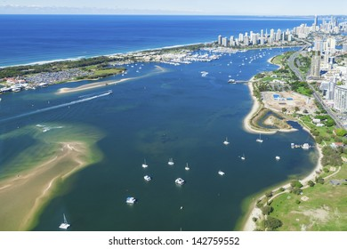 Aerial view of Gold Coast Broadwater, Queensland, Australia