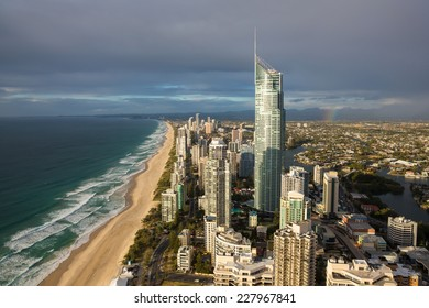 Aerial view of Gold Coast , with rainbow over suburbs