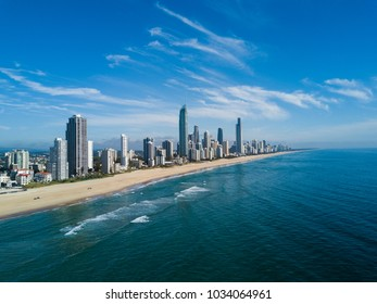 Aerial view of Gold Coast at sunrise, Queensland, Australia